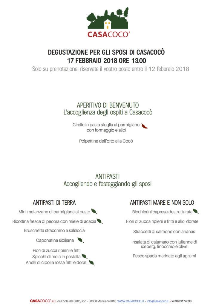 Casacocò menù degustazione sposi 2