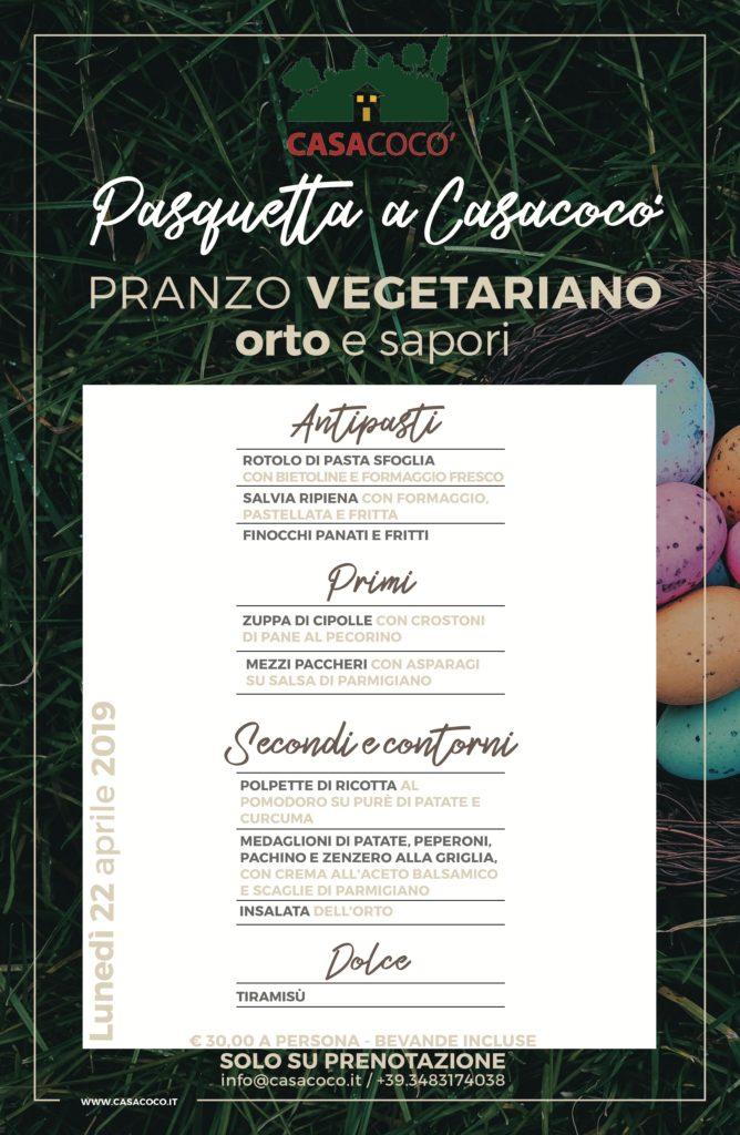 Menù vegetariano Pasquetta a Casacocò